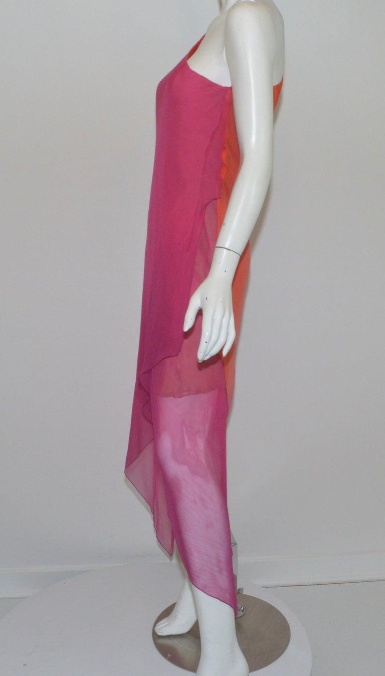 Vintage Oscar de la Renta One Shoulder Asymmetric Chiffon Dress For Sale 1