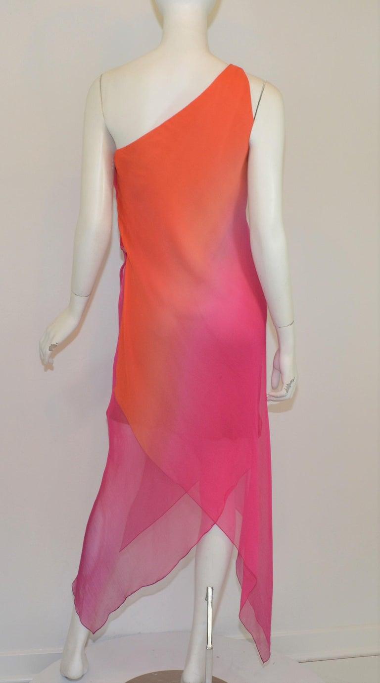 Vintage Oscar de la Renta One Shoulder Asymmetric Chiffon Dress For Sale 2