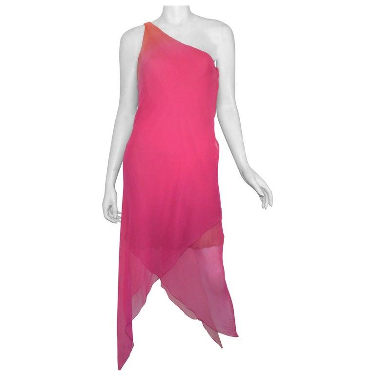 Vintage Oscar de la Renta One Shoulder Asymmetric Chiffon Dress For Sale
