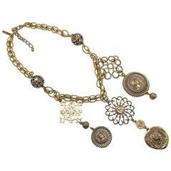 Vintage Oscar De La Renta Oversize Bronzed Medallion Bib Necklace 1990S