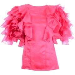 Vintage Oscar de la Renta Pink Organza Ruffled 1980s Evening Top