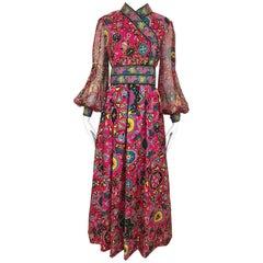 Oscar De La Renta Vintage Pink Silk Print Maxi Dress