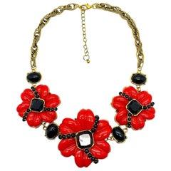 Vintage Oscar De La Renta Red & Black Floral Statement Necklace 2000s