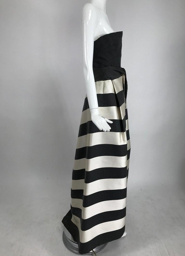 Vintage Oscar de la Renta Silk Stripe Open Front Skirt Shawl and Dress For Sale 5