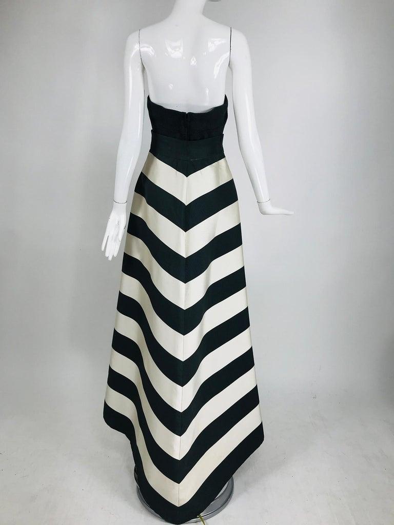 Vintage Oscar de la Renta Silk Stripe Open Front Skirt Shawl and Dress For Sale 6