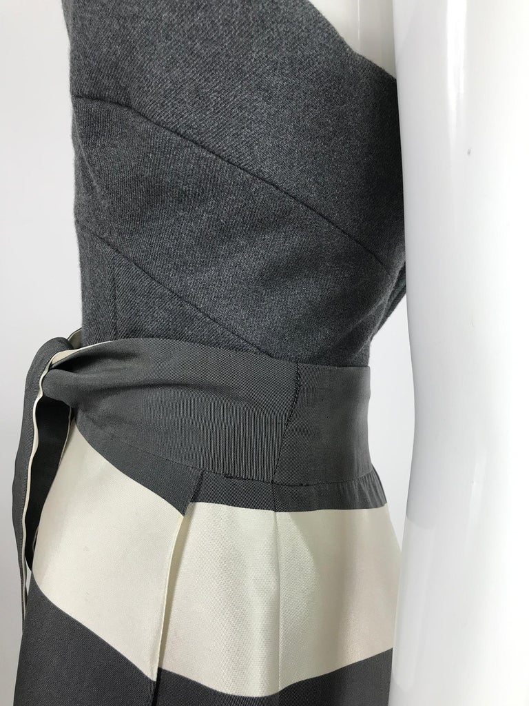 Vintage Oscar de la Renta Silk Stripe Open Front Skirt Shawl and Dress For Sale 7