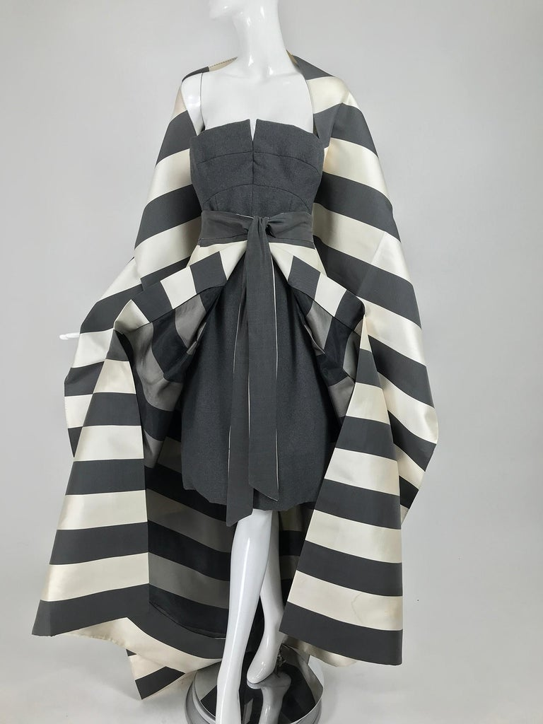 Vintage Oscar de la Renta Silk Stripe Open Front Skirt Shawl and Dress For Sale 11
