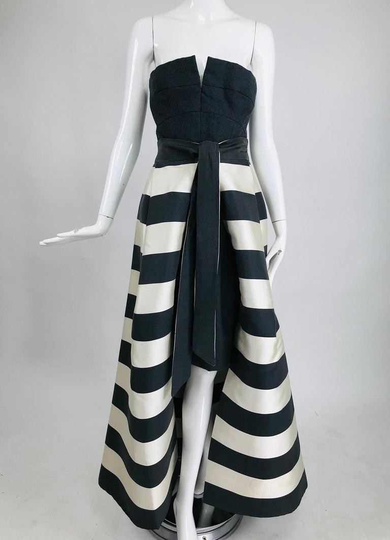 Black Vintage Oscar de la Renta Silk Stripe Open Front Skirt Shawl and Dress For Sale