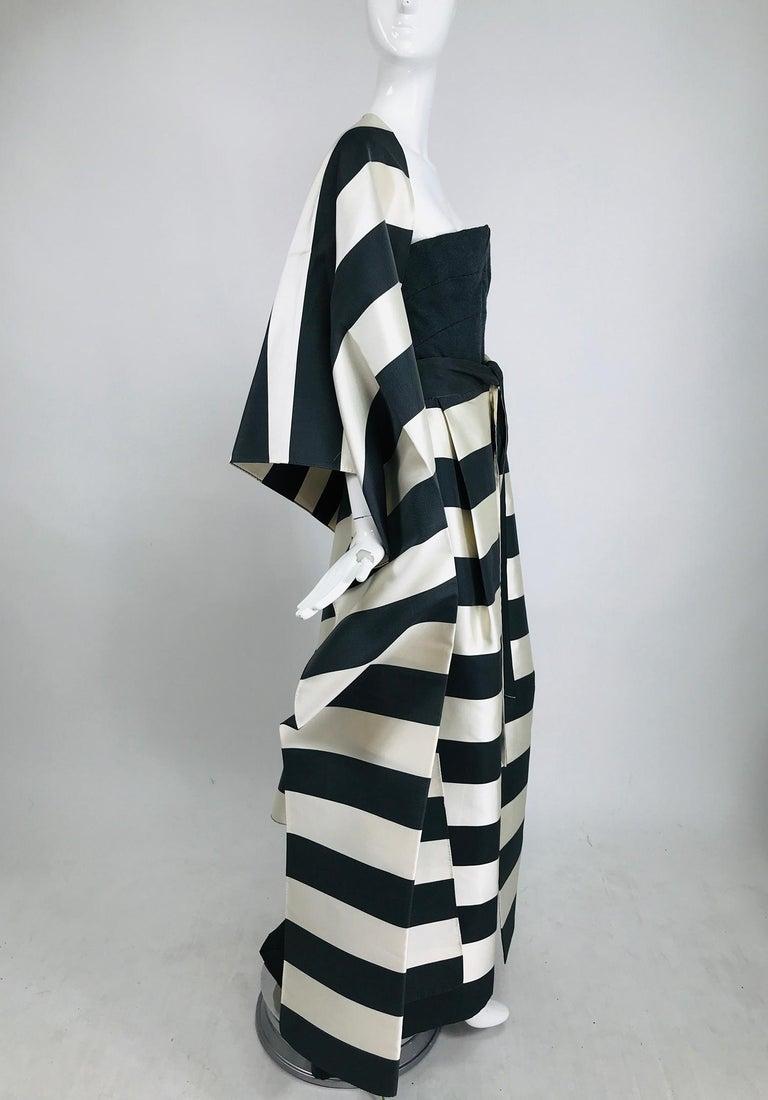 Women's Vintage Oscar de la Renta Silk Stripe Open Front Skirt Shawl and Dress For Sale