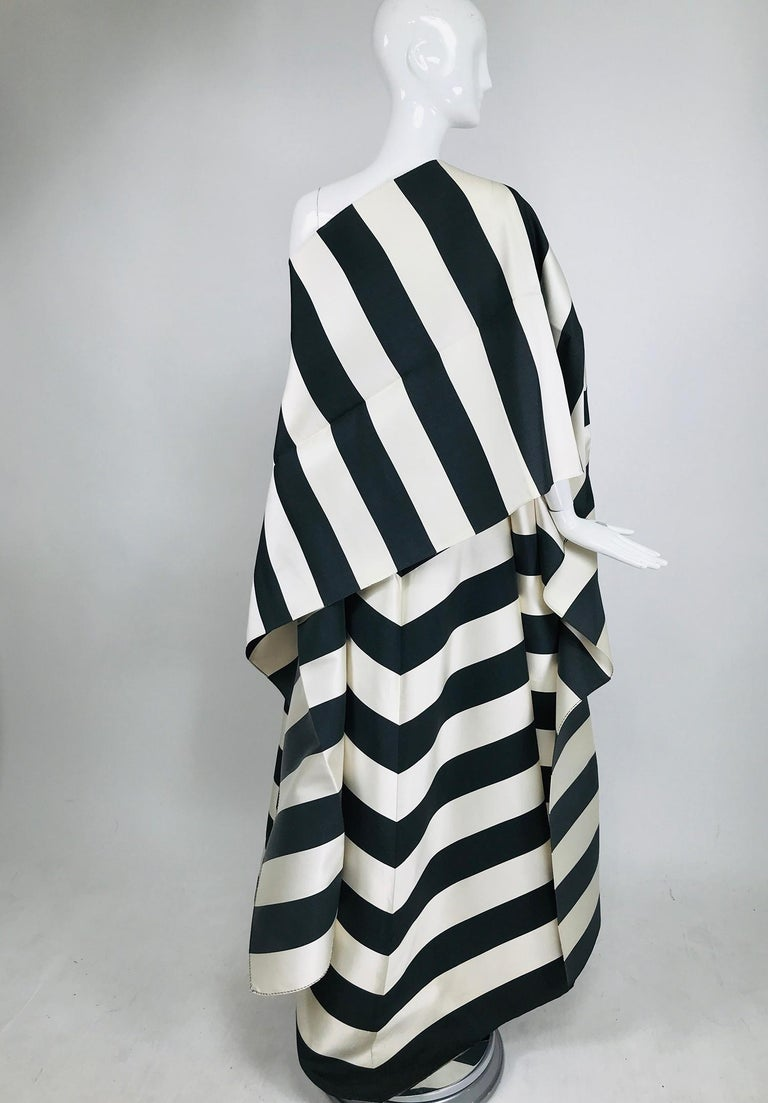 Vintage Oscar de la Renta Silk Stripe Open Front Skirt Shawl and Dress For Sale 1