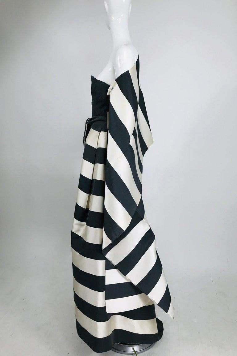 Vintage Oscar de la Renta Silk Stripe Open Front Skirt Shawl and Dress For Sale 2