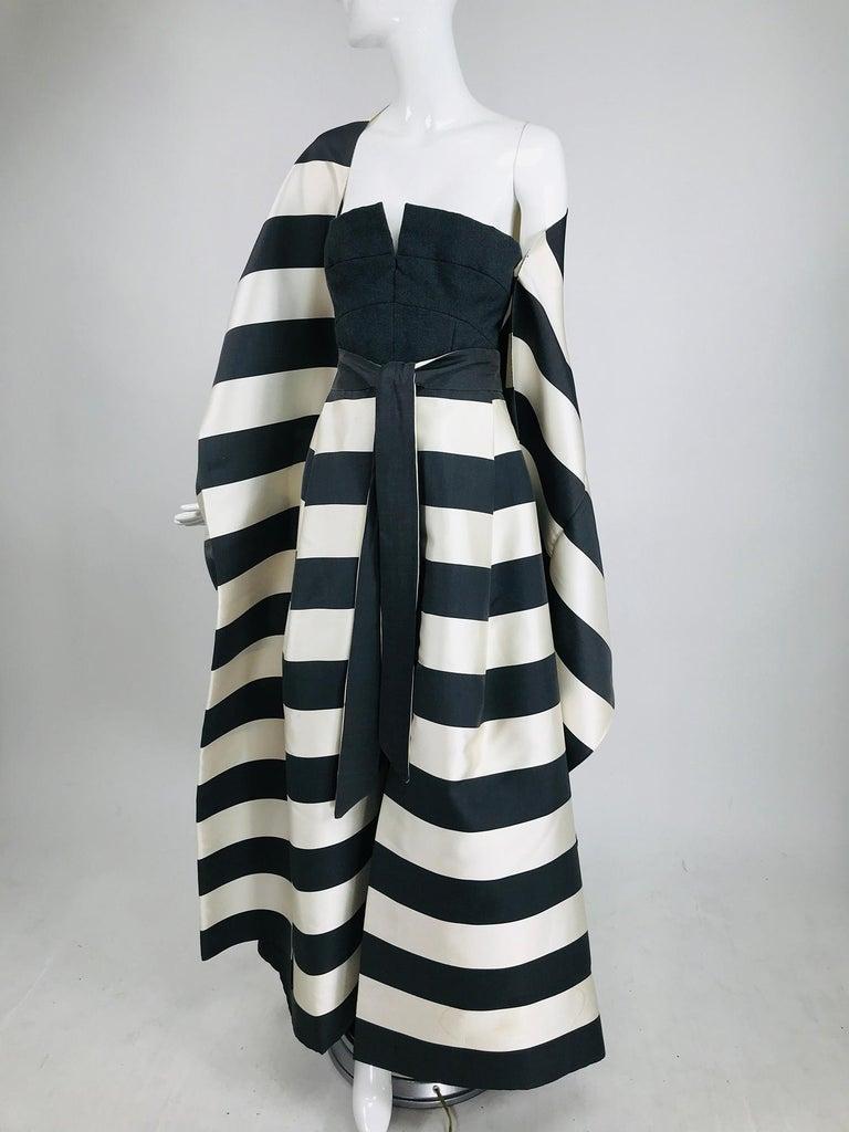 Vintage Oscar de la Renta Silk Stripe Open Front Skirt Shawl and Dress For Sale 3
