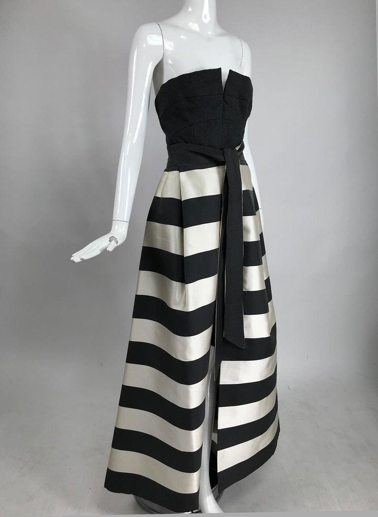 Vintage Oscar de la Renta Silk Stripe Open Front Skirt Shawl and Dress For Sale 4