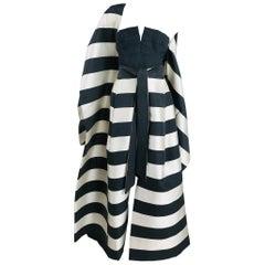 Vintage Oscar de la Renta Silk Stripe Open Front Skirt Shawl and Dress