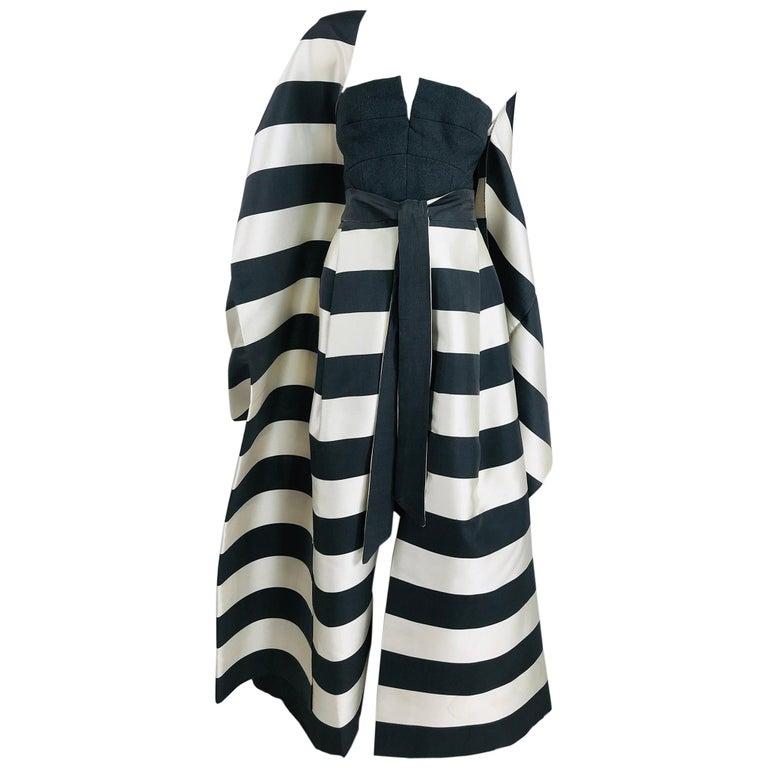 Vintage Oscar de la Renta Silk Stripe Open Front Skirt Shawl and Dress For Sale