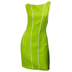Vintage Oscar de la Renta Size 8 1990s Lime Green Gingham 90s Sheath Dress