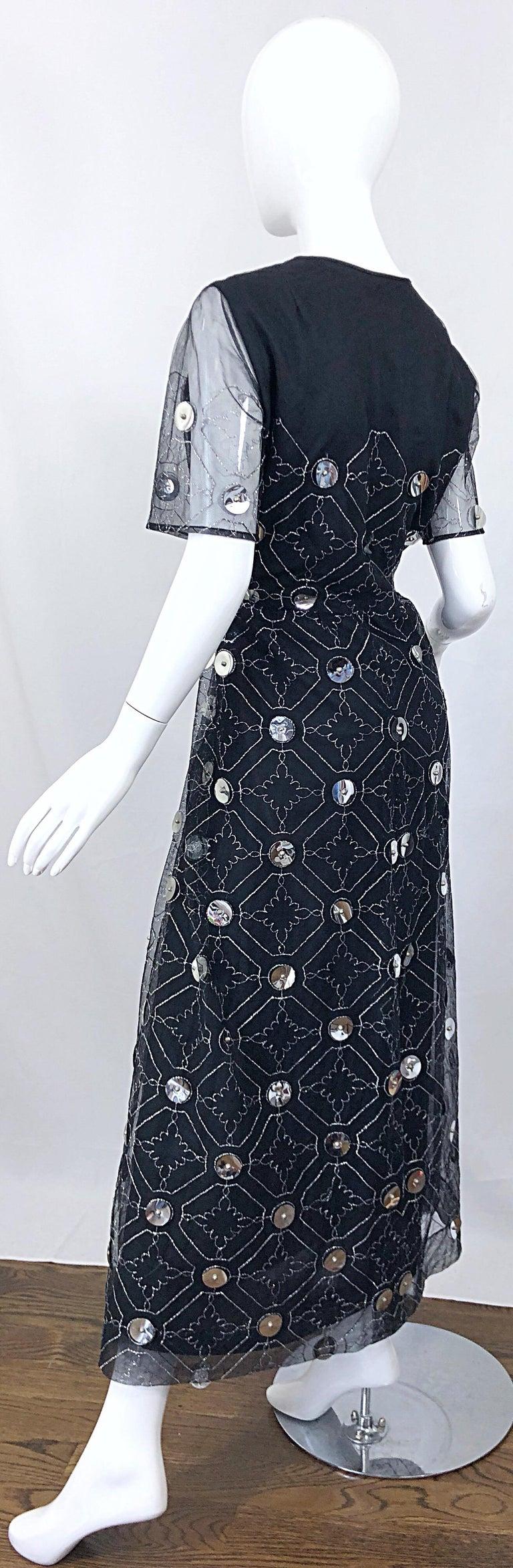 Vintage Oscar de la Renta Sz 10 1970s Black Tulle + Silver Pailletes 70s Gown For Sale 10