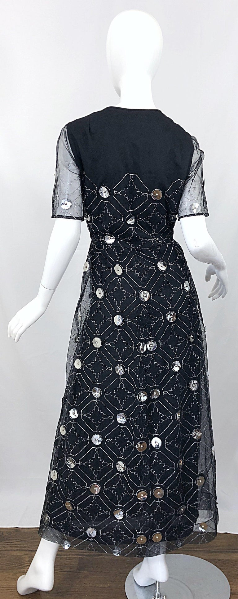 Vintage Oscar de la Renta Sz 10 1970s Black Tulle + Silver Pailletes 70s Gown For Sale 1