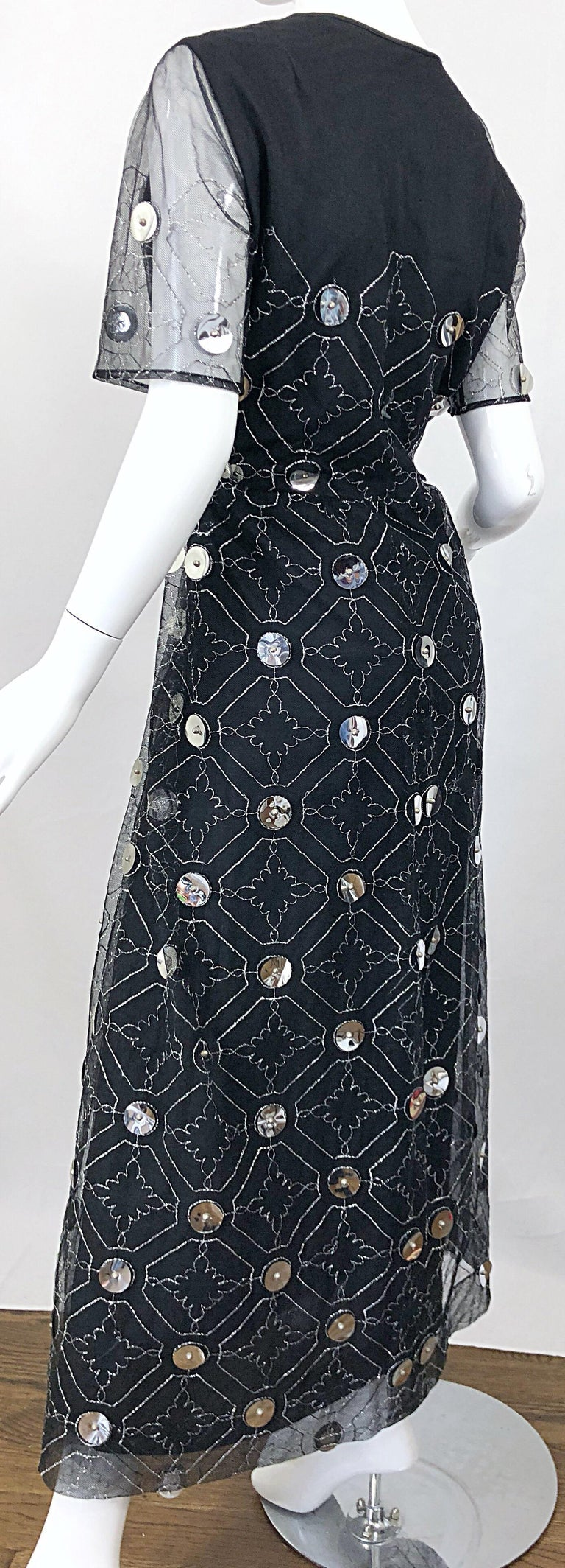 Vintage Oscar de la Renta Sz 10 1970s Black Tulle + Silver Pailletes 70s Gown For Sale 4
