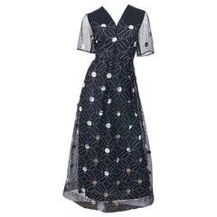 Vintage Oscar de la Renta Sz 10 1970s Black Tulle + Silver Pailletes 70s Gown