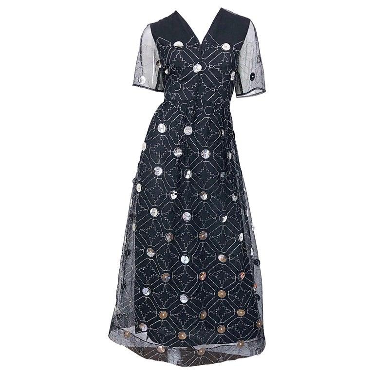 Vintage Oscar de la Renta Sz 10 1970s Black Tulle + Silver Pailletes 70s Gown For Sale