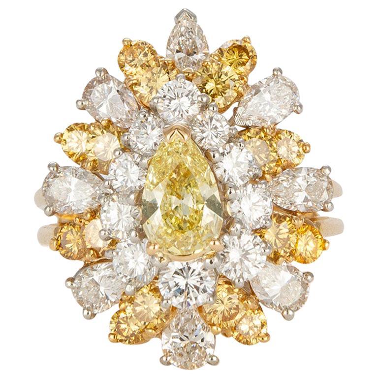 Vintage Oscar Heyman Platinum & 18k Yellow Gold Diamond Cocktail Cluster 3.89ctw