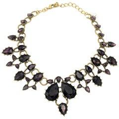 Vintage Oskar De La Renta necklace singed purple crystal Brass 90s
