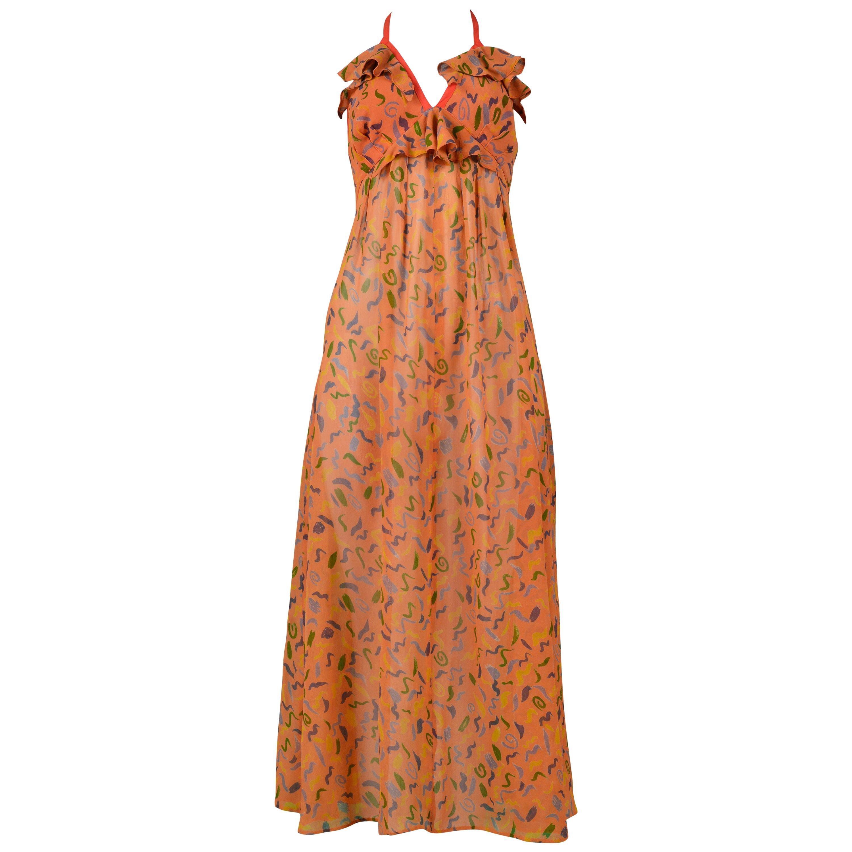 Vintage Ossie Clark Orange Crepe Halter Dress with Celia Birtwell Print