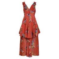 Vintage Ossie Clark Red Floral Print Dress