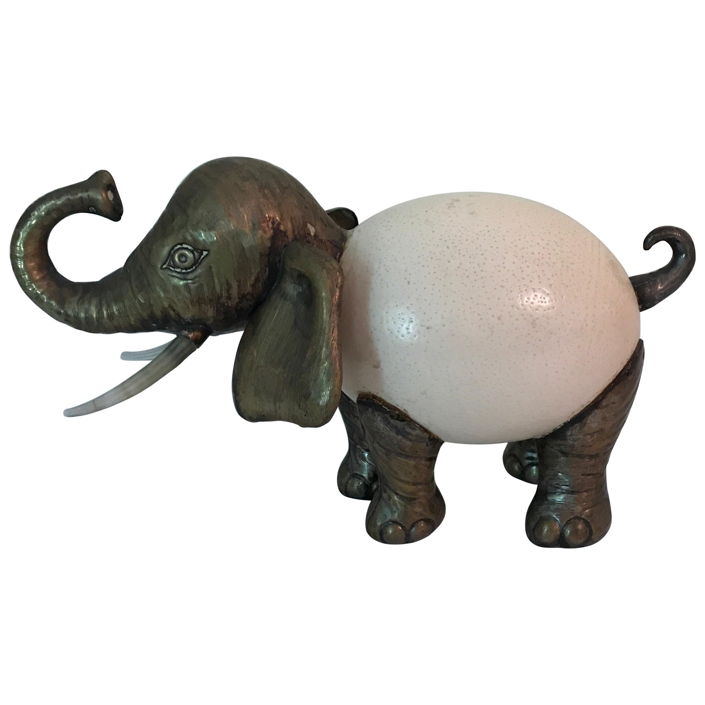 Vintage Ostrich Egg Elephant Sculpture in the style of Anthony Redmile