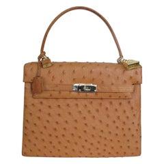 Vintage Ostrich Leather top handle bag cognac