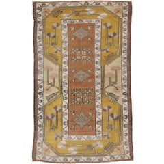 Vintage Oushak Accent Rug in Soft Colors