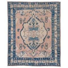 Vintage Oushak Carpet, Blue Pink and Cream Accents
