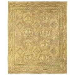 Vintage Oushak Botanic Handmade Wool Carpet