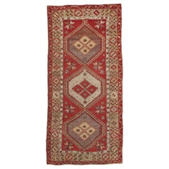Vintage Oushak Carpet, Handmade Oriental Rug, Beige, Red, Grey, Off-White