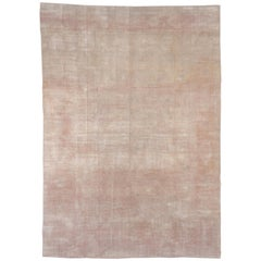 Vintage Oushak Carpet, Light Pink Accents, Solid Field