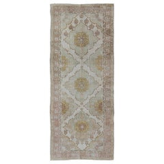 Vintage Oushak Gallery Runner with Three Medallion Design in Taupe, Light Green