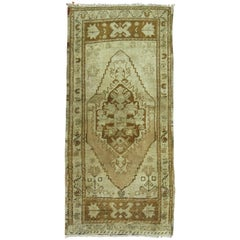 Vintage Oushak Mat in Gold and Brown