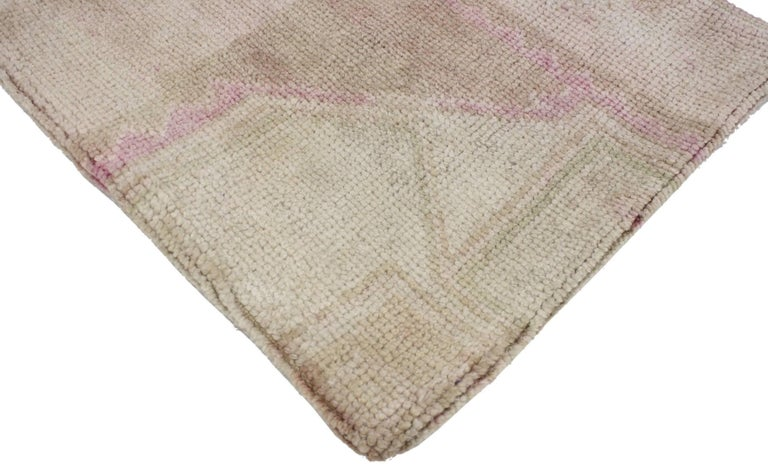 Turkish Vintage Oushak Pillow Cover with Soft Muted Colors, Oushak Rug Pillow Cover For Sale