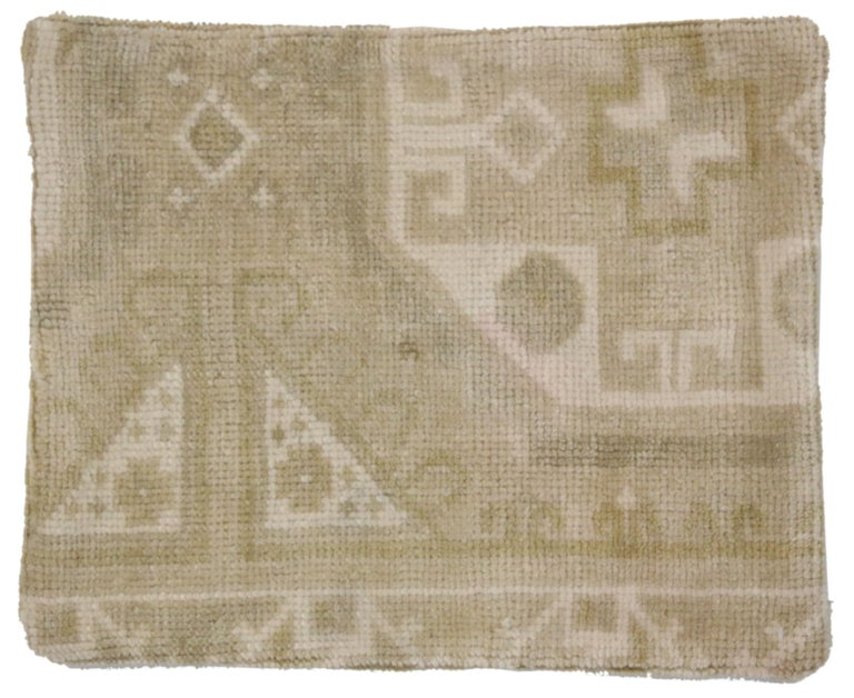 Hand-Knotted Vintage Oushak Pillow Cover with Soft Muted Colors, Oushak Rug Pillow Cover For Sale