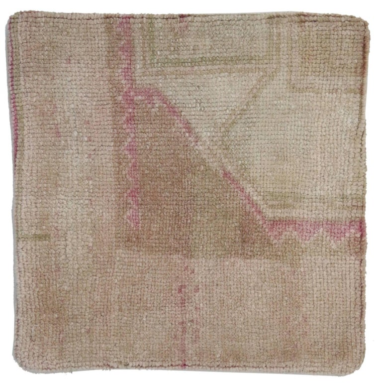 Vintage Oushak Pillow Cover with Soft Muted Colors, Oushak Rug Pillow Cover For Sale