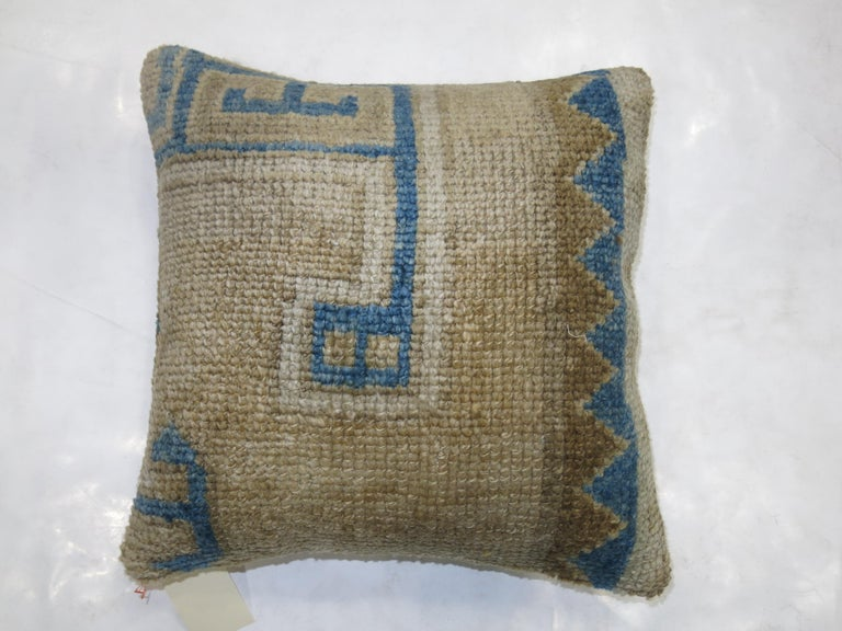 Turkish Vintage Oushak Rug Pillow in Blue and Beige For Sale