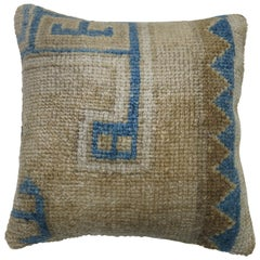 Vintage Oushak Rug Pillow in Blue and Beige