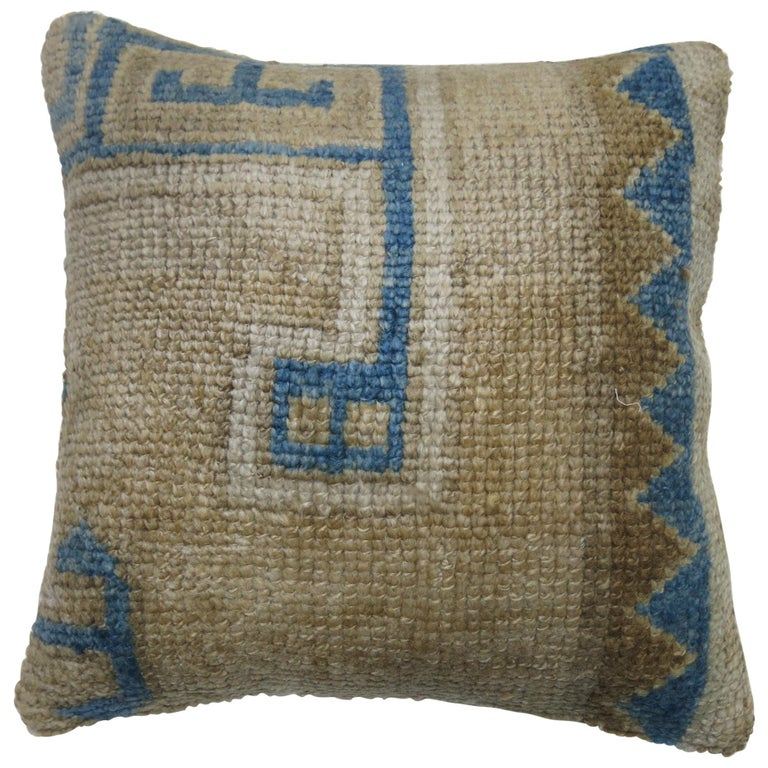 Vintage Oushak Rug Pillow in Blue and Beige For Sale