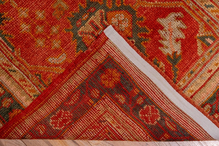Orange Turkish Oushak Runner, Circa 1920s In Excellent Condition For Sale In New York, NY