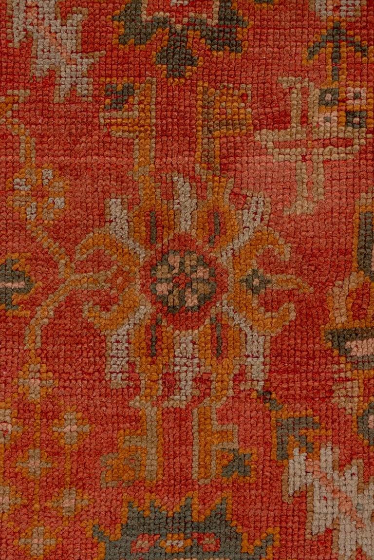 Wool Orange Turkish Oushak Runner, Circa 1920s For Sale