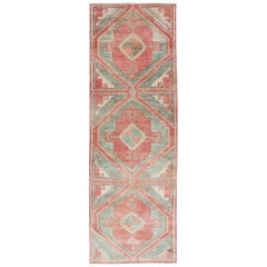 Vintage Oushak Runner in Aqua and Soft, Rosy Red