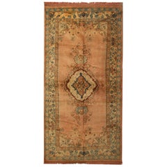 Vintage Oushak Turkish Rugs, Anatolian Carpet Rust Living Room Rug