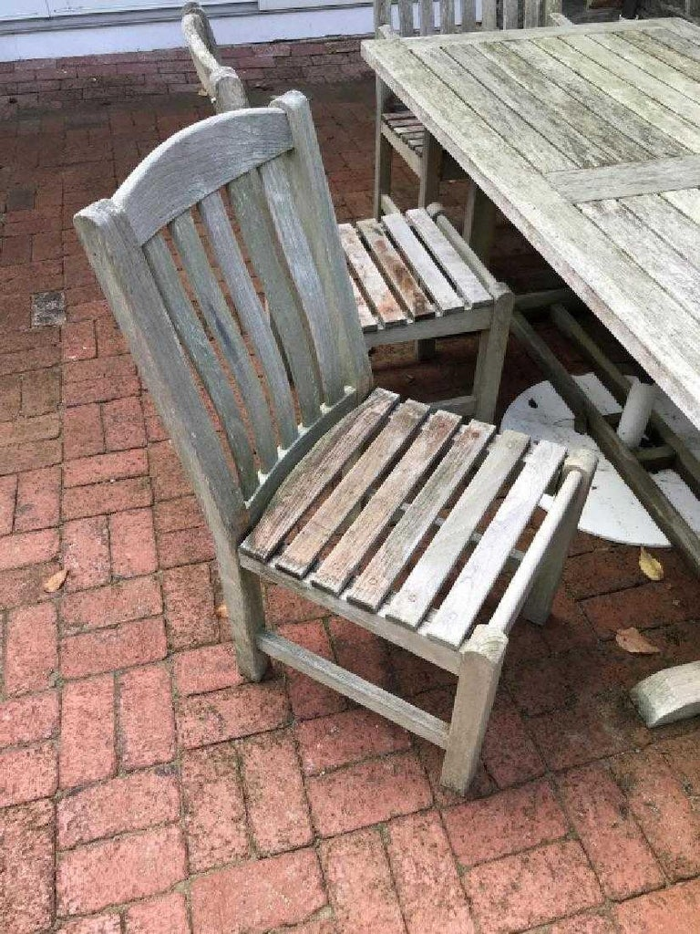 American Vintage Outdoor Garden Teak Dining Table and Chairs Set For Sale