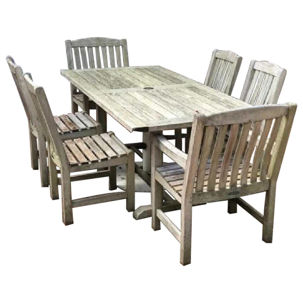 Beau Vintage Outdoor Garden Teak Dining Table And Chairs Set